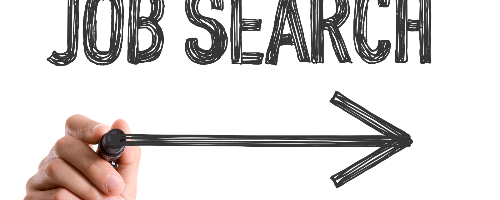 Words job search with hand drawing arrow to the right